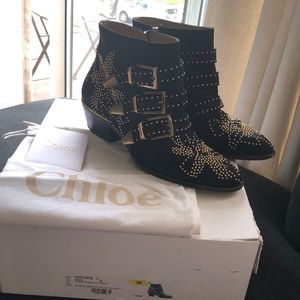 Chloe Suzanna Studded Boots in Navy